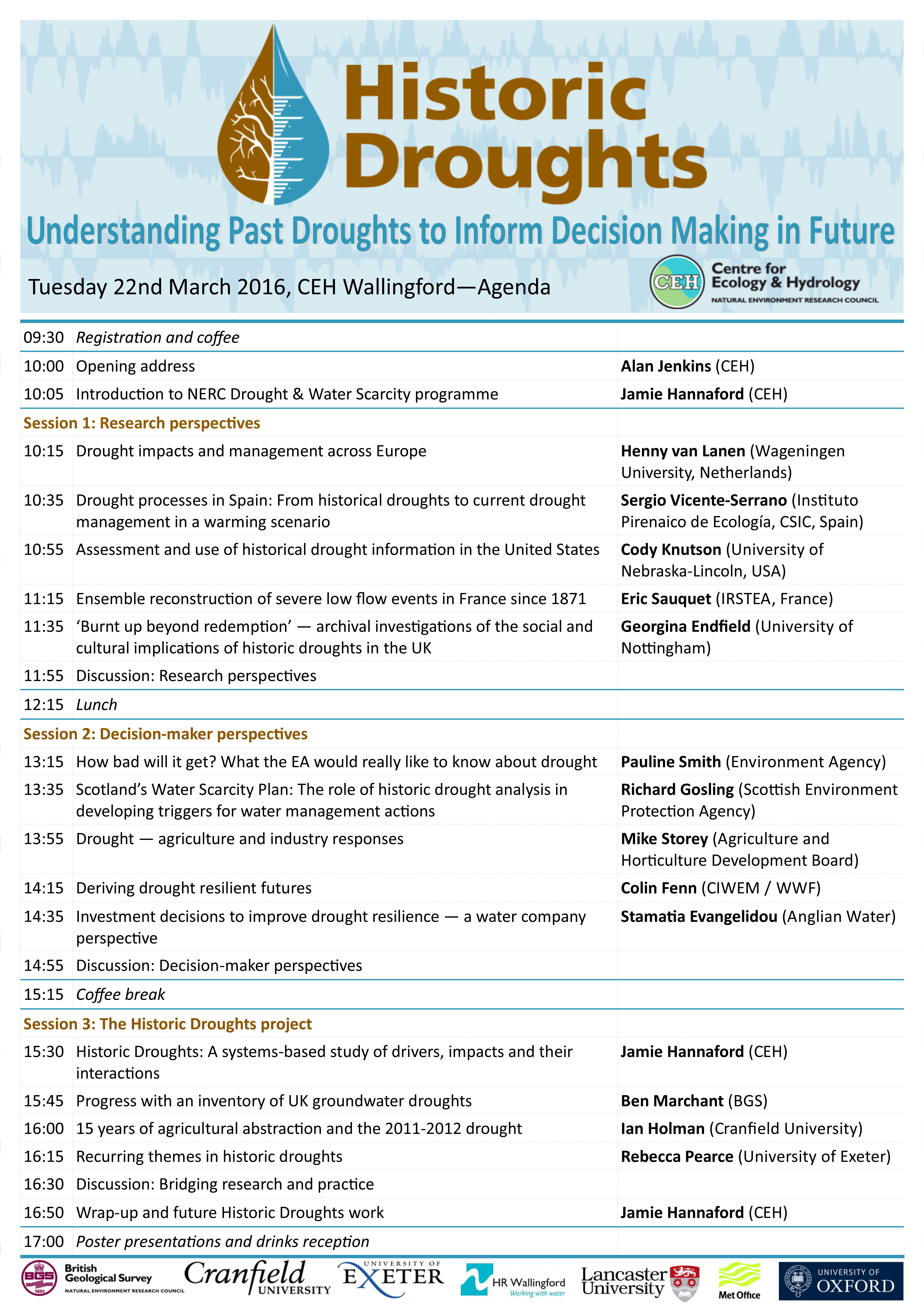 Historic Droughts Symposium Agenda