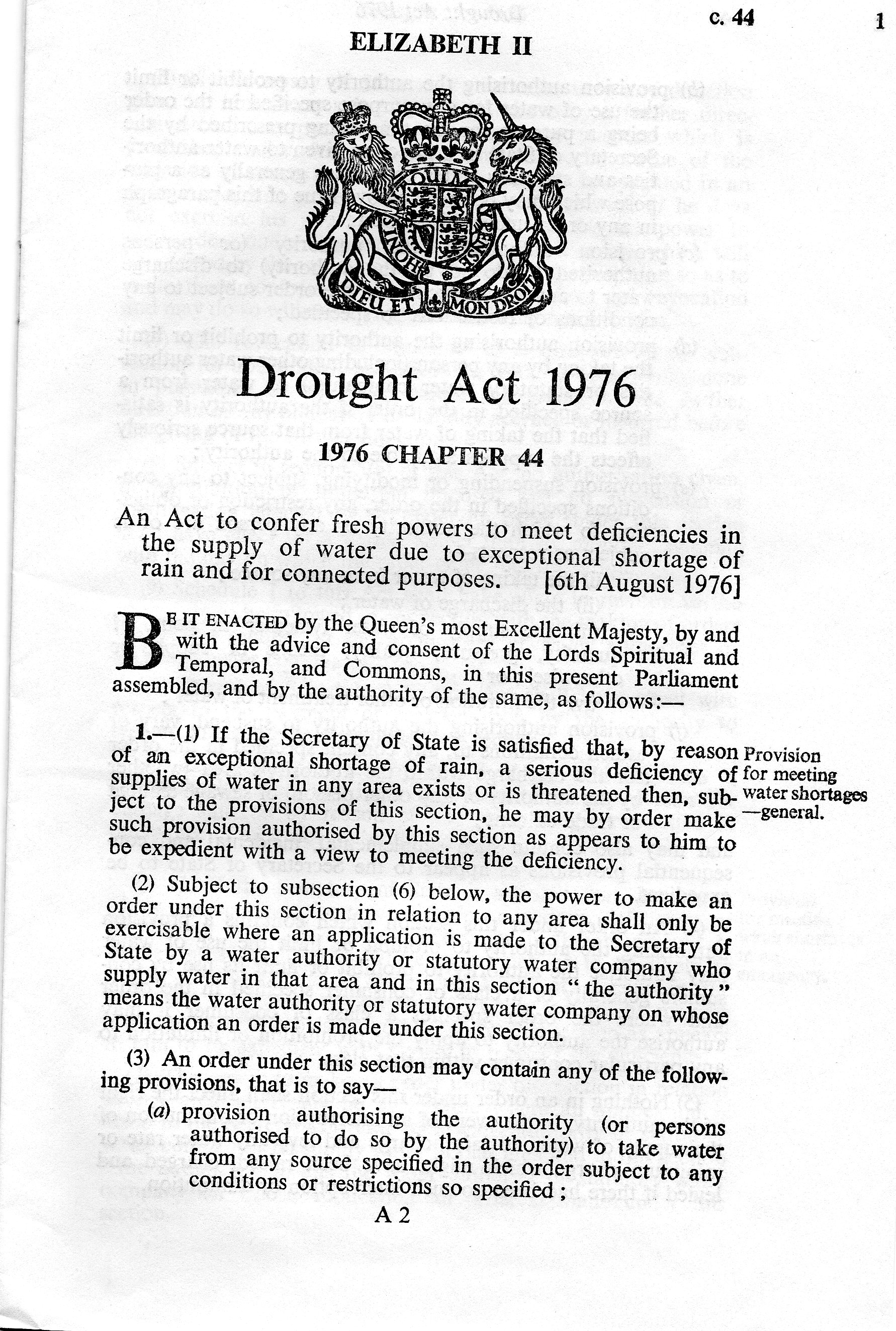 1976 Drought Act